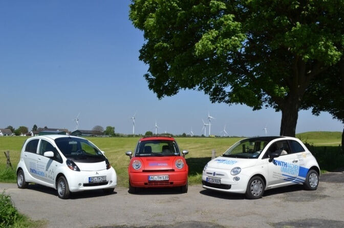 Electric vehicles on a field road