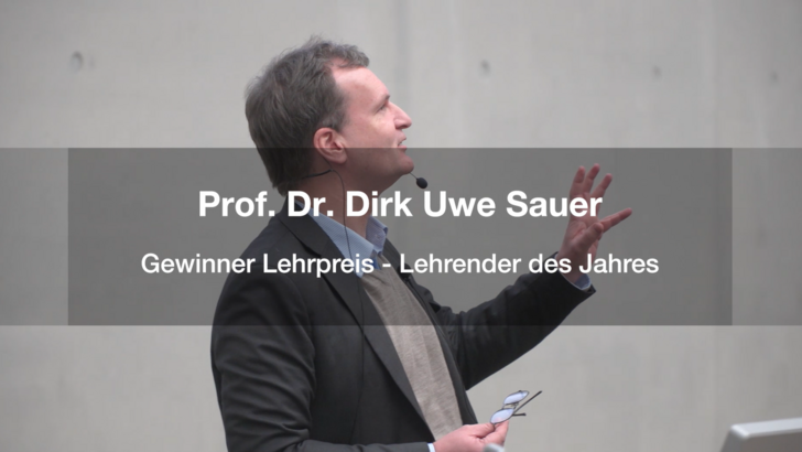 Teaching Award for Prof. Dr. Dirk Uwe Sauer